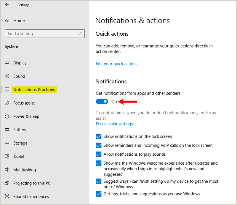 Disable Notifications settings windows
