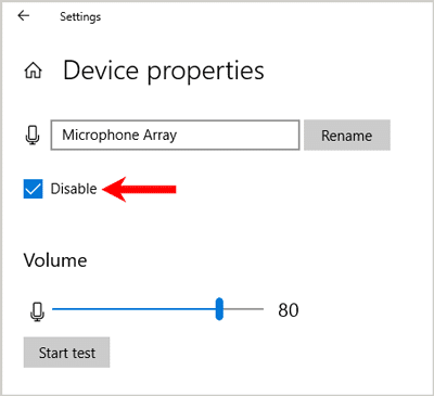 Disable microphone settings windows
