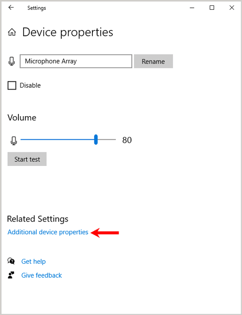 Sound Device Properties Related Settings
