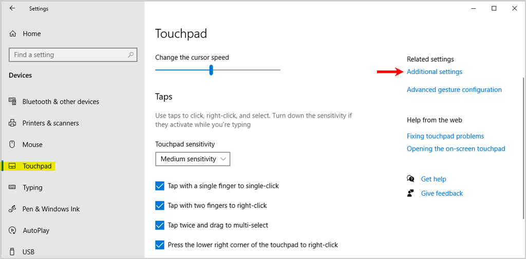 Touchpad related settings