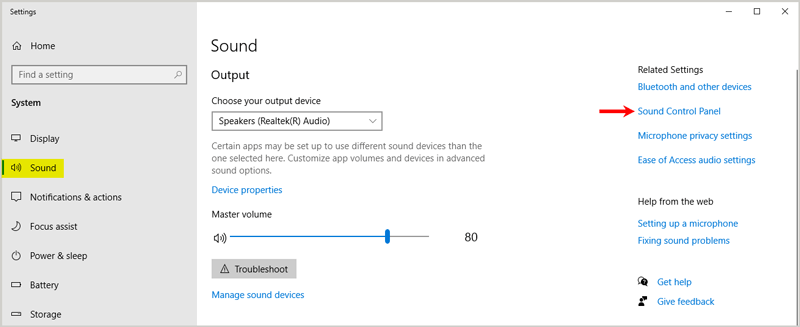 Windows Sound related settings